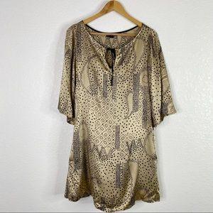 Hale Bob Bronze Black Silk Blend Shift Dress